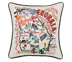 meep! I found the embroidered ga pillow at uncommongoods.com, but at $149.99! I'm thinking that's *not* what I want for Christmas, so I'll just drool over it on my board while I satisfy myself with a few state dish towels. ga, nc, va, ny, fl to start. I do have a dish towel addiction ;)