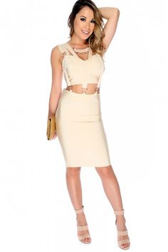 b9df9b4920 Sexy Sand Crisscross Sleeveless Knee Length Clubwear Bandage Dress