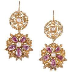 Preowned Cannetille Gemstone Gold Earrings ($2,850) ❤ liked on Polyvore featuring jewelry, earrings, dangle earrings, multiple, 18k yellow gold earrings, antique jewelry, long gold earrings and 18k gold jewelry