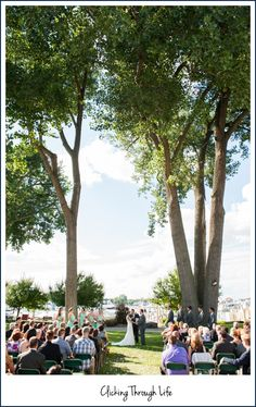 Love the outdoor ceremony site at the Detroit Yacht Club!