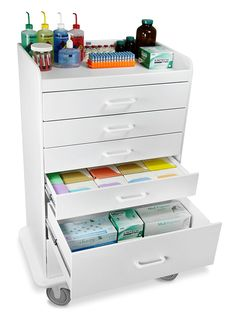 "TrippNT 51046 Polyethylene Procedure Cart, Locking, 31"" Width x 48"" Height x 20"" Depth, 6 Drawers, White: Science Lab Carts: AmazonSmile: Industrial & Scientific"