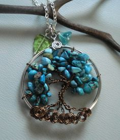 Tree of Life Pendant -Wire wrapped Necklace-Turquoise Gemstone-December Birthstone via Etsy