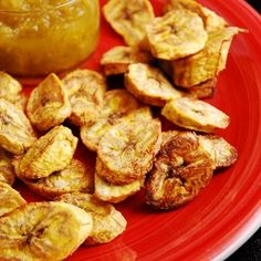 Baked Plantains: slice ripe plantain and spray pan with olive oil, bake 350 degrees for 35minutes, flipping once.