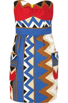 AfroFunky - Taking the chevron print to a fun level. Love the envelope pockets. Black suede peep toe baby dolls......