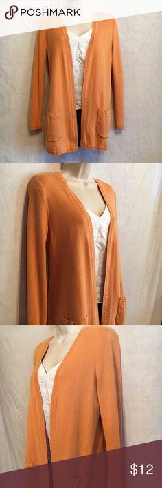 "J. Jill Orange Cardigan Sweater Open Style Cardigan, Long Sleeve, Front Pockets. Measurements: (flat)  Chest: 19""  Waist: 18""  Length: 27"" J. Jill Sweaters Cardigans"