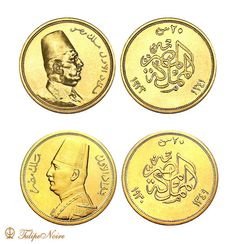 Two editions Of King Fouad's 20 Gold-Piasters Coin [Issued In 1923 & 1930]