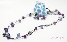 "Handmade necklace set, Hematite , purple crystals, shell, mix materoal, 33"" #Handmade"