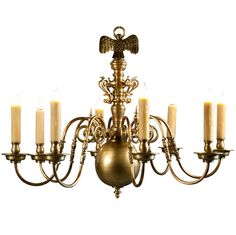 Heavy Bronze Flemish Chandelier with 8 arms and Eagle | From a unique collection of antique and modern chandeliers and pendants  at https://www.1stdibs.com/furniture/lighting/chandeliers-pendant-lights/