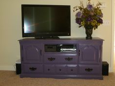 This is a Craigslist dresser I repurposed to TV Console