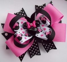 Pink And Black Minnie Mouse Head Hair Bow