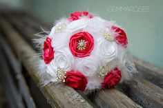 Bridal Feather Bouquet - Brooch Bouquet - White and Pink Fabric Bouquet Brooch bouquet with feather, Unique Wedding Bridal Bouquet