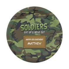 Army Camouflage Comic Kids Birthday Paper Plate #ArmyPaperPlates #KidsBirthdayPlates #MilitaryBirthdayThemes