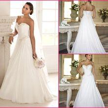 2016 New Hot Selling Custom Made Wedding Dresses Vestido de Noiva De Mariage Pleat Chiffon Beadings Wedding Dress(China (Mainland))