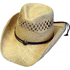 This Kids Natural Vented Straw Rafia cowboy hat comes with a draw string  for a cool a79379c470f8