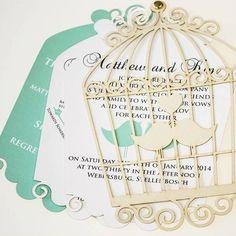 Bird cage laser cut wedding invitation by @herscard by weddingcard