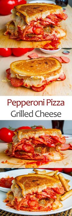 A pepperoni pizza in grilled cheese form! Buttery and toasty golden brown bread stuffed full of ooey gooey melted mozzarella cheese, pepperoni and pizza sauce. Grill Sandwich, Sandwich Recipes, Steak Sandwiches, Pizza Recipes, Easy Recipes, Gourmet Grill, I Love Food, Good Food, Yummy Food