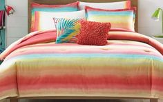 Liven up your bedroom with the vibrant Teen Vogue Electric Beach Comforter Set. Reminiscent of a beautiful beach sunset, the eye-catching bedding features a soft ombre of lemon, tangerine, coral, and turquoise. Beach Theme Bedding, Beach Comforter, Beach Bedding Sets, Twin Comforter Sets, Bright Bedding, Coastal Bedding, Coastal Bedrooms, Luxury Bedding, Head Boards