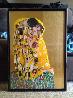 """The Kiss"" by Gustav Klimt - Perler bead art by Artymesia"