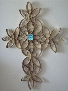 When I was at VBS we did a craft like this but out of toilet paper rolls and then spray painted it with gold or black ! A fun a easy craft that looks like an expensive Piece of art ! Try it out ! You need . To cut toilet paper rolls up . Then your going to need glue and spray paint and if you want to add the jewel that's a personal preference . I hope you find this craft interesting !: