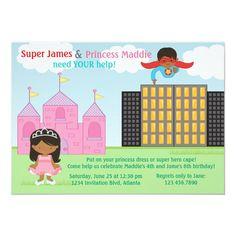 Super Hero and Princess Twins Joint Birthday Party Invitation Superhero Birthday Invitations, Superhero Party, Twin Birthday, Princess Birthday, Joint Birthday Parties, Flavio, Quinceanera Invitations, Zazzle Invitations, Twins