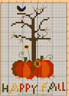Happy Fall cross stitch pattern