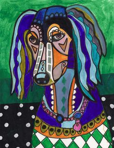 PRINT Saluki Poster Abstract Dog Modern Art Painting