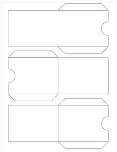 A page of envelopes to slip an ATC into. Cut on outside lines, fold and glue tabs on insde. Mini Envelopes, Pocket Envelopes, Paper Envelopes, Diy Envelope, Envelope Punch Board, Envelope Templates, Eid Crafts, Paper Crafts, Printable Box