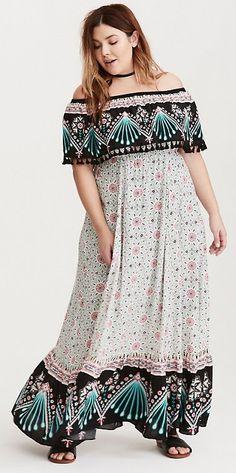 Plus Size Challis Maxi Dress