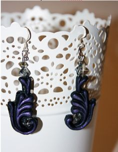 Baroque style earrings by Carole Monahan made with Makin's Clay® no bake, air dry polymer clay - http://www.makinsclayblog.blogspot.com/2015/06/baroque-style-earrings-by-carole-monahan.html