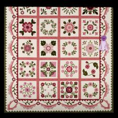 2014 Quilt Expo Quilt Contest, Honorable Mentio, Category 4, Machine quilted bed size appliqued: A Pink Rose Garden for Zoe, Carol Schwankl, Lakeville, Minn., wiquiltexpo.com