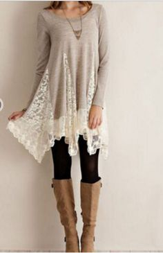 Such a cute top! And with those boots!!! Long Tops For Leggings, Long Tunic Tops, Long Blouse, Long Tunics, Boots And Leggings, Lace Leggings, Lace Tights, Sweaters And Leggings, Lace Tunic