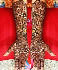 This traditional and symmetrical full hand mehndi design is proof that traditionalism never gets outdated. Adorned with multiple mandalas and flower patterns. Arabic Bridal Mehndi Designs, Rajasthani Mehndi Designs, Wedding Henna Designs, Engagement Mehndi Designs, Full Hand Mehndi Designs, Stylish Mehndi Designs, Dulhan Mehndi Designs, Mehndi Design Pictures, Beautiful Mehndi Design