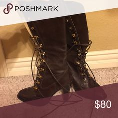 Women's Michael Kors Leather Boots Only worn a few times. Got a lot of compliments! Michael Kors Shoes Lace Up Boots
