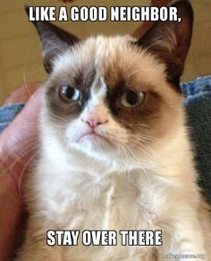 Grumpy Cat meme Like a Good Neighbor, stay over there