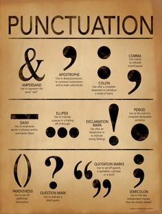 Punctuation Grammar and Writing Poster For Home, Office or Classroom. Fine Art Paper, Laminated, or Framed Punctuation Grammar and Writing Poster For Home, Office or Classroom.Art Print: Punctuation - Gramm ar and Writing Poster by Jeanne Stevenson : Grammar Posters, Writing Posters, Book Writing Tips, Writing Words, Grammar Rules, Punctuation Posters, Writing Help, Punctuation Activities, Grammar Help