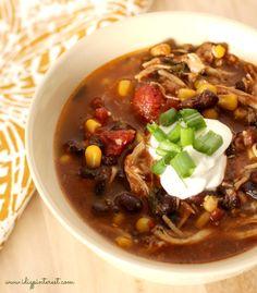 Skinny Crock Pot Chicken Enchilada Soup