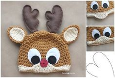 How to DIY Rudolph The Reindeer Hat with Free Crochet Pattern | www.FabArtDIY.com    #tutorial #DIy #crochet #free pattern #hat Follow us on Facebook ==> https://www.facebook.com/FabArtDIY