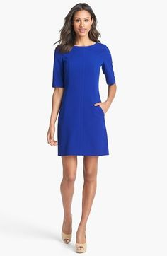 Simple, very blue dress. Tahari Seamed A-Line Dress | Nordstrom