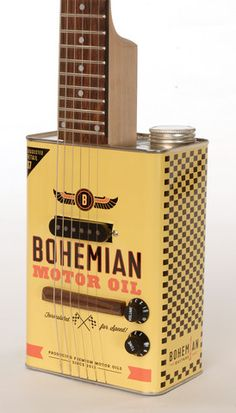Electric guitar made from Bohemian Motor Oil can by Bohemian Guitars