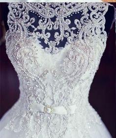 Diyouth V neck Ball Gown White Bridal Wedding Dress