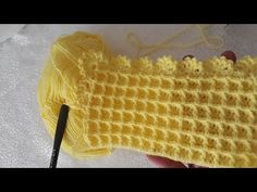 WAFFLE BEBEK BATTANİYESİ MODELİ + KENAR YAPIMI.. - YouTube Crochet Hooded Scarf, Easy Crochet Blanket, Crochet Coat, Knitted Blankets, Crochet Baby, Crochet Stitches Patterns, Baby Knitting Patterns, Crochet Turtle, Beginner Crochet Tutorial