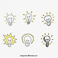 Hand drawn light bulbs Free Vector