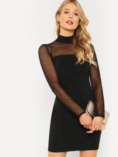 At A Sheek Boutique we have fashion Black Short Illusion Neck Long Sleeve  Mesh Sheer Plain Fitted Elegant Pencil Dress 7e6c725b280f