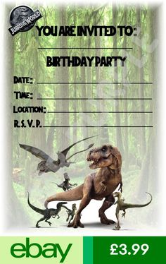 Click Here To Download Free Printable Jurassic Park T Rex Birthday Invitations My Lil Mans