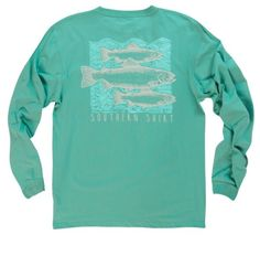 Southern Shirt Company Blockprint Trout Long Sleeve Tee- Island Mist