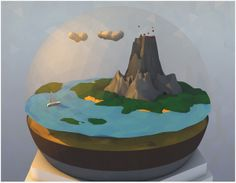 Poly World [Low Poly] by Ollie Hooper, via Behance