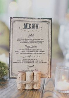 Skip a menu at each seat if you can. Cute idea to display the menu at the table. tie corks together with jute twine to hold photos etc. - Burlap Wedding Menu by HelloLoveWeddings on Etsy Wine Cork Wedding, Wedding Menu, Wedding Table, Diy Wedding, Wedding Planning, Wedding Rustic, Rustic Weddings, Wedding Wine Theme, Wedding Card