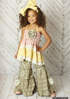 2016 Mustard Pie Shangrila Script Pixie Pant<BR>Now in Stock Easter Outfit For Girls, Girls Easter Dresses, Cute Outfits For Kids, Little Girl Dresses, Toddler Outfits, Girls Dresses, Baby Dresses, Toddler Fashion, Kids Fashion