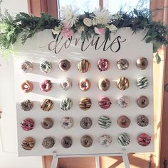 20 Irresistible Wedding Donut Ideas Your Guests Will Love - Hochzeit 20 Irresistible Wedding Donut Ideas Your Guests Will Love Cute Mini Donuts Wall Wedding Decor Ideas Mini Donuts, Donuts Donuts, Wedding Donuts, Wedding Desserts, Wedding Cakes, Engagement Party Desserts, Doughnut Wedding Cake, Donut Decorations, Wedding Decorations