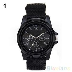 Canvas Belt Solider Style watches for Men Fabric Strap Luminous Army Wrist Watches 5L2T